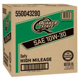 Quaker State High Mileage SAE 10W-30 Motor Oil (1 qt. bottles, 6 pk.)