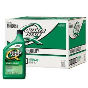 Quaker State 10W-40 Motor Oil (12-pack / 1-quart Bottles)