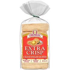 Oroweat Extra Crisp English Muffins (6 ct., 12 oz.)