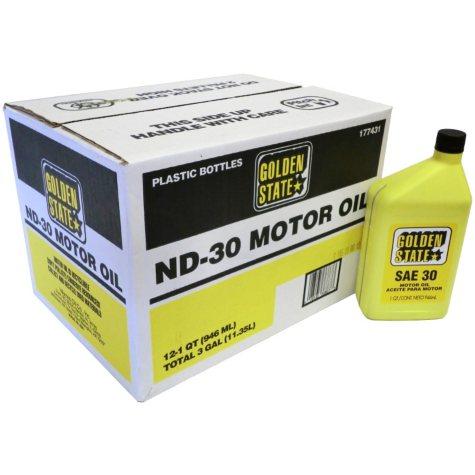 Golden State SAE 30 Motor Oil - 1 Quart Bottles - 12 pack