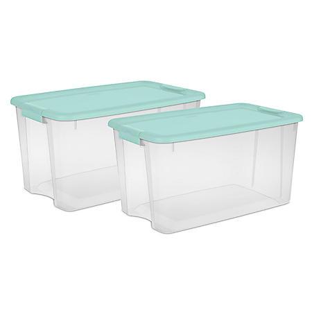 Sterilite 70-Qt. Ultra Latch Box, Classic Mint (Set of 2)
