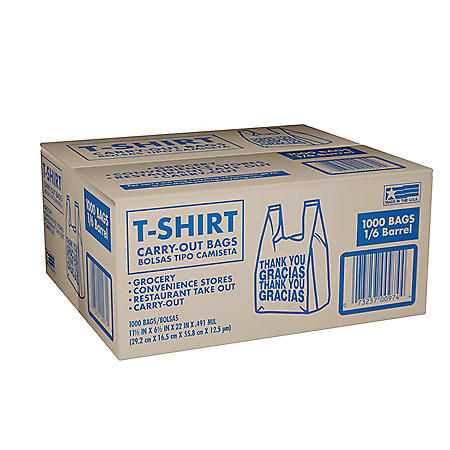 """T-Shirt Carry-Out Bags, 11.5"""" x 6.5"""" x 22"""" (1,000 ct.)"""
