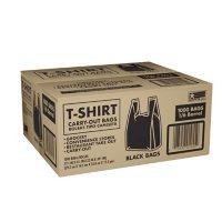 "Black T-Shirt Carryout Bags, 11.5"" x 6.5"" x 22"" (1,000 ct.)"