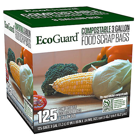 EcoGuard Compostable Food Scrap Bags (3 gal., 125 ct.)