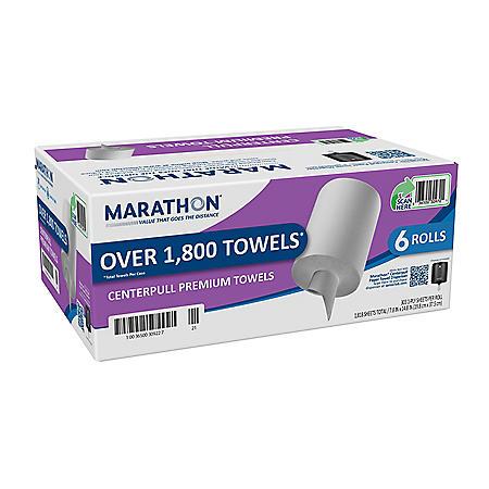 "Marathon Centerpull Paper Towel, 1-Ply, White, 15"" x 7.8"" (6 rolls)"