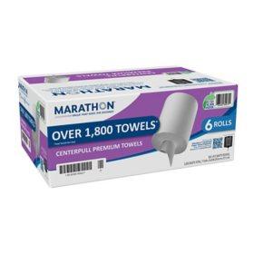Marathon® Centerpull Paper Towels, White, 300 Sheets Per Roll, 6 Rolls Per Case