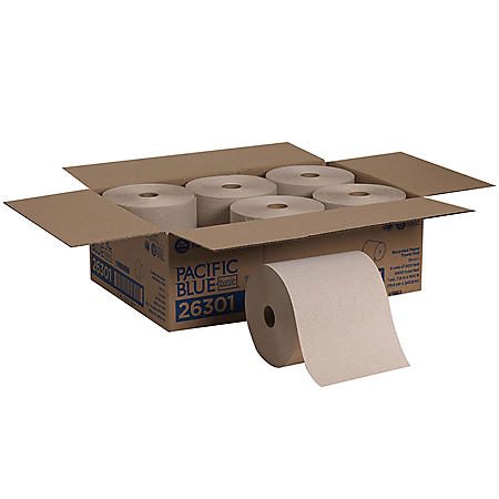 """Georgia Pacific Professional Pacific Blue Basic Nonperforated Paper Towels, 7 7/8"""" x 800', Brown (6 rolls)"""