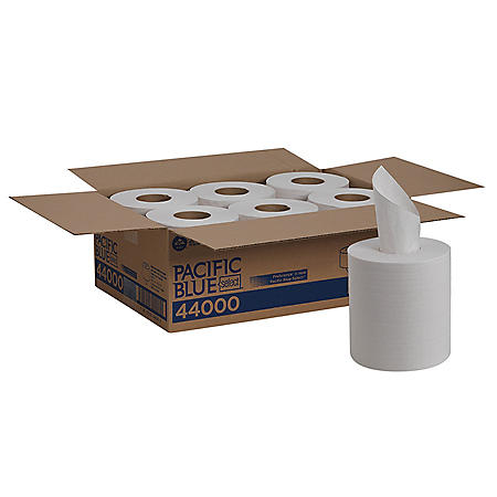 """Georgia Pacific Professional Pacific Blue Select 2-Ply Center-Pull Perf Wipers, 8 1/4"""" x 12"""" (520/roll, 6 rolls)"""