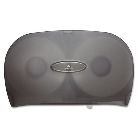 Jumbo Jr. Two-Roll Bathroom Tissue Dispenser, 20 8/25 x 6 x 12 19/25, Smoke