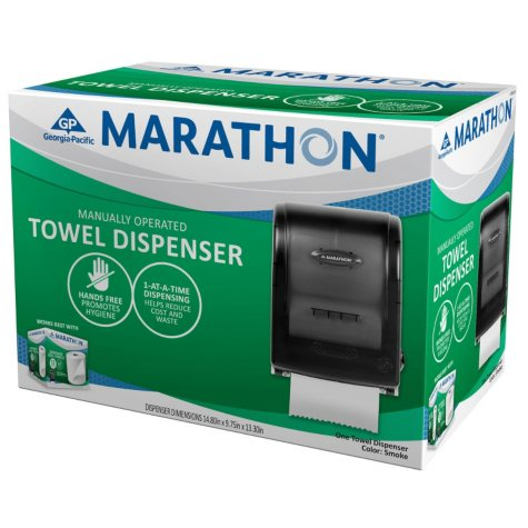 Marathon Manual Roll Towel Dispenser, 350 Ft. Capacity (Smoke)