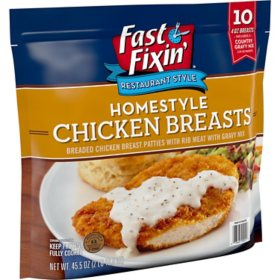 Fast Fixin Breaded Homestyle Chicken Breast Patties with Gravy Mix, Frozen (10 ct.)