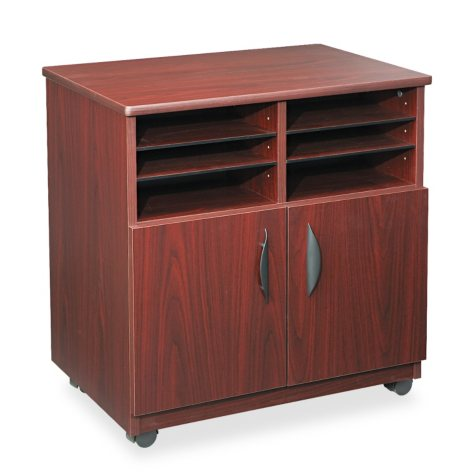 Safco Mobile Machine Stand with Sorter, Mahogany