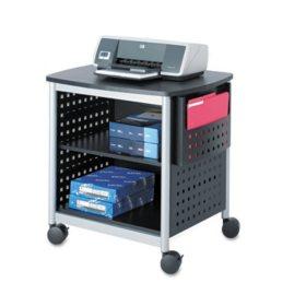 Safco Scoot Desk-Side Printer Stand, Black/Silver