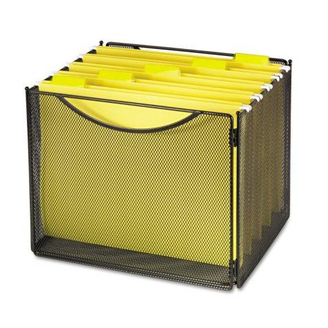 "Safco 11"" Deep Onyx Desktop Steel Mesh File Storage Box, Black"