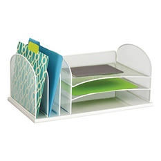 Safco Onyx Mesh Desk Organizer, 3 Horizonal and 3 Vertical Sections, White