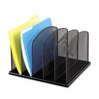 Safco 5-Section Horizontal Mesh Desk Organizers, Black