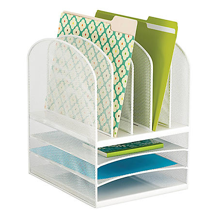 Safco Onyx Mesh Desk Organizer, 3 Horizontal and 5 Vertical Sections, White