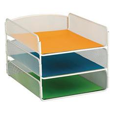 Safco 3-Tier Desk Tray, Steel Mesh, Letter, White
