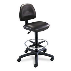Safco - Precision Extended Height Swivel Stool with Adjustable Footring - Black Vinyl
