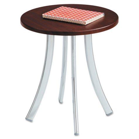 "Safco Decori 15 3/4"" Wood Side Round Table, Mahogany/Silver"