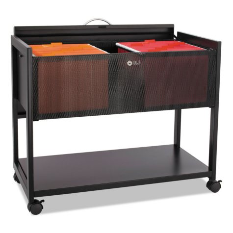 Safco One-Shelf Locking Top Mobile Tub File, Black