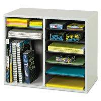 Safco Adjustable 12-Compartment Literature Organizer, Gray