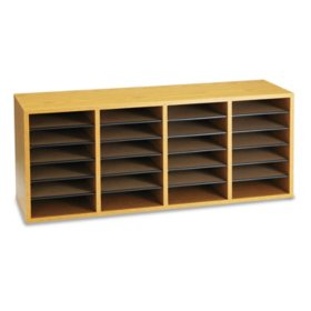 Safco 24-Shelf Adjustable Literature Organizer, Medium Oak