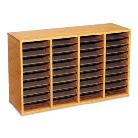Safco 36-Compartment Adjustable Literature Organizer, Medium Oak