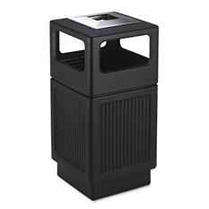 Safco Canmeleon Square Ash/Trash Receptacle, Black (38 gal)