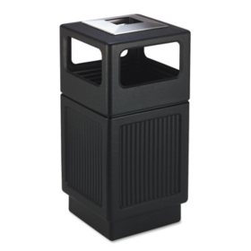 Safco Canmeleon Square Ash/Trash Receptacle, Black (38 gal)