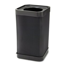 Safco At-Your-Disposal Open-Top Square Waste Receptacle, Black (38 gal)