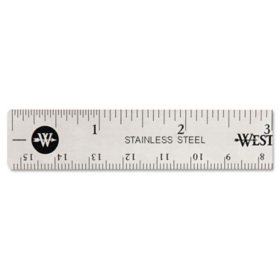 "Westcott Stainless Steel Office Ruler With Non Slip Cork Base, 6"""