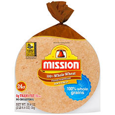 Mission 100% Whole Wheat Soft Taco Flour Tortillas (38.4 oz., 24 ct.)