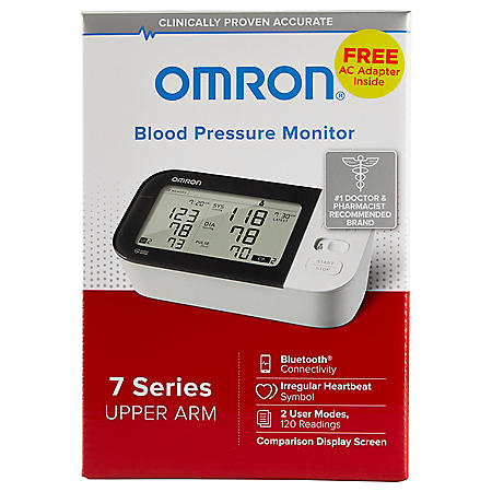 OMRON 7 Series Upper Arm Bluetooth Blood Pressure Monitor with AC Adapter