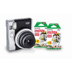FUJIFILM Instax Mini 90 Instant Camera Bundle with 40 count Instant Film Pack - Neo Classic