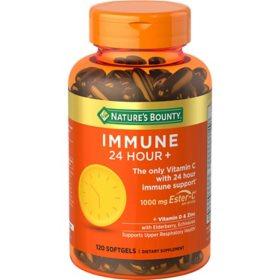 Nature's Bounty Immune 24 Hour + Immune Support Softgels, 1000mg Vitamin C (120 ct.)