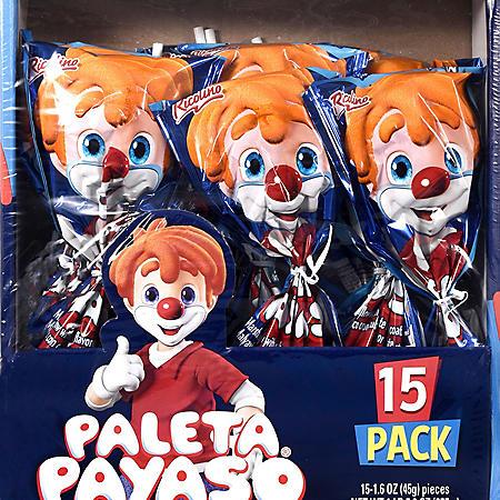 Ricolino Paleta Payaso Marshmallow Lollipop (15 ct.)