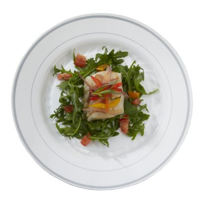 plates by masterpiece are made of heavyweight plastic with the look and heft of china topped by a decorative band of color the smooth rigid surface