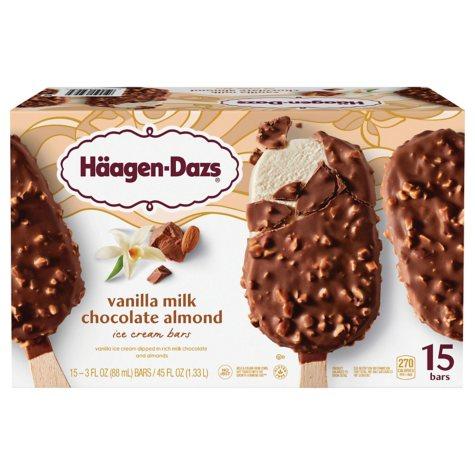 Häagen-Dazs Vanilla Milk Chocolate Almond Ice Cream Bars (15 ct.)