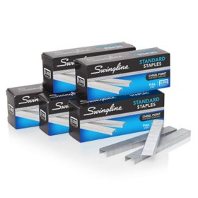 "Swingline® Standard Staples, 1/4"" Length, 210 Per Strip, 5,000/Box, 5 Boxes"