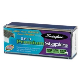 Swingline - S.F. 3 Premium Chisel Point 105 Count Half-Strip Staples -  5000/Box