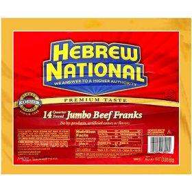 Hebrew National Jumbo Beef Franks (56 oz., 14 ct.)