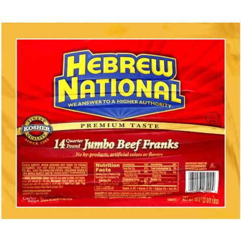 Hebrew National Jumbo Beef Franks (56 oz., 14 ct.)
