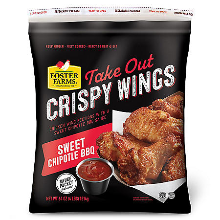 Foster Farms Frozen Classic Sweet Chipotle BBQ Take-out Crispy Wings (4 lbs.)