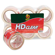"Duck - Heavy-Duty Carton Packaging Tape, 3"" x 55yds, Clear -  6/Pack"