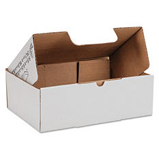 Duck 200lb Corrugated Self-Locking Mailing Box, White (9 1/2 x 6 1/2 x 3 1/4, 25 ct.)
