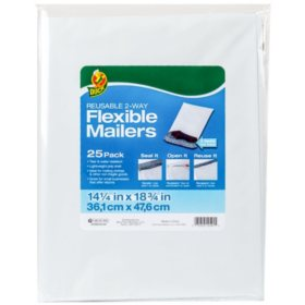 "Duck Brand Reusable 2-Way Flexible Mailers, 14.25"" x 18.75"", White, 25 Pack"