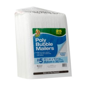 "Duck Brand #5 Poly Bubble Mailer - White, 25 pk, 10.5"" x 15"""