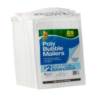 "Duck Brand #2 Poly Bubble Mailer - White, 25 pk, 8.5"" x 11"""