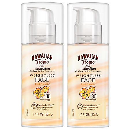 Hawaiian Tropic Weightless Face SPF 30 Sunscreen Lotion (1.7 fl. oz., 2pk)